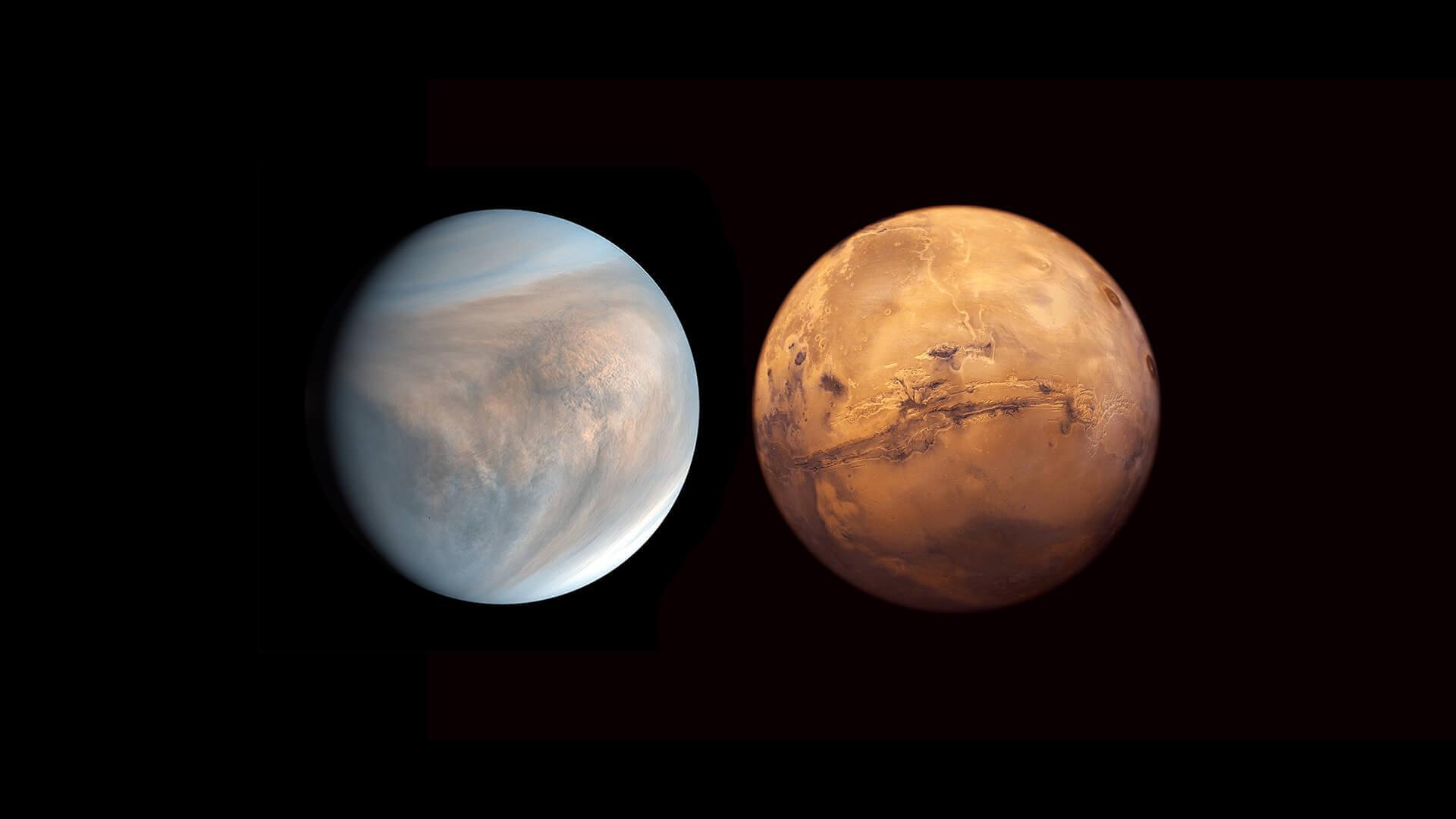 Venus opposite Mars
